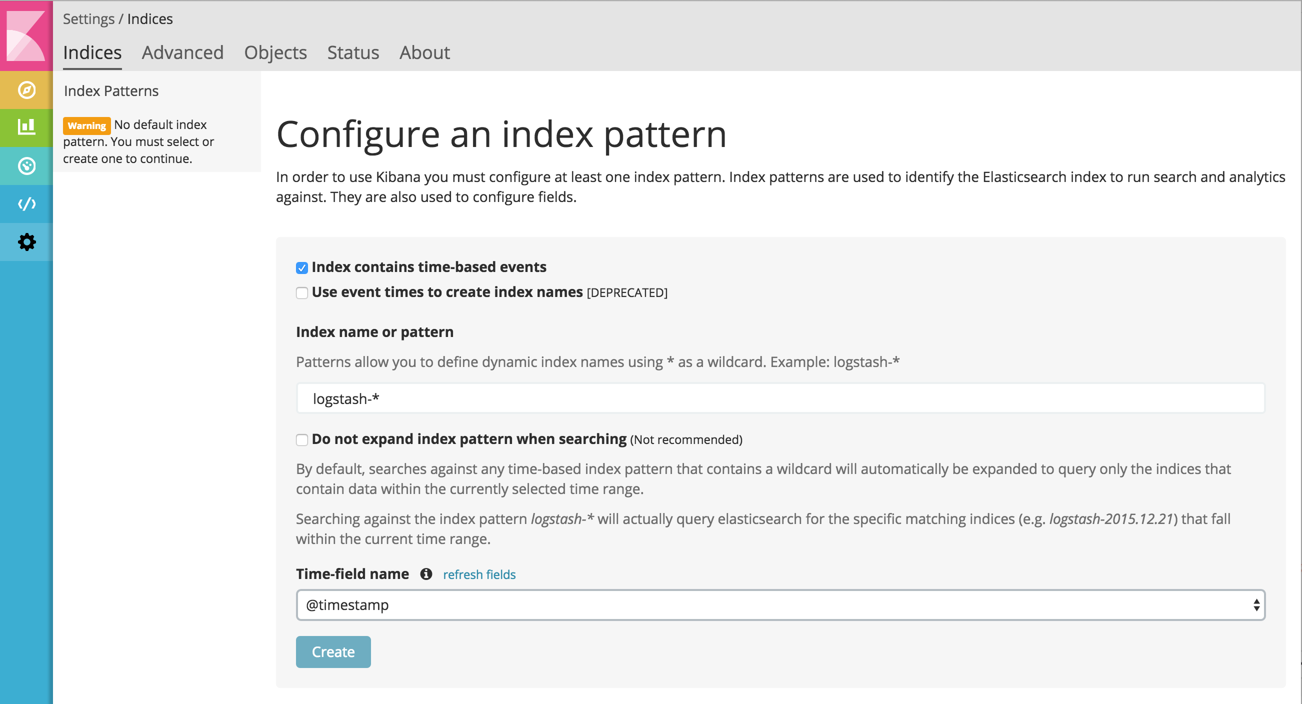 Creating an index pattern