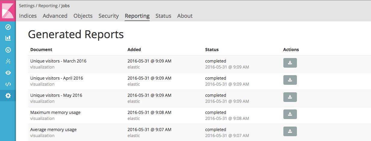 Reporting UI