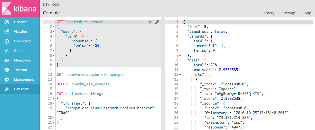 Console in Dev Tools