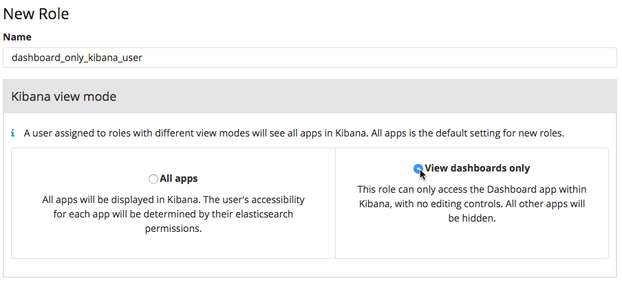 Selecting Kibana view modes in the Management application