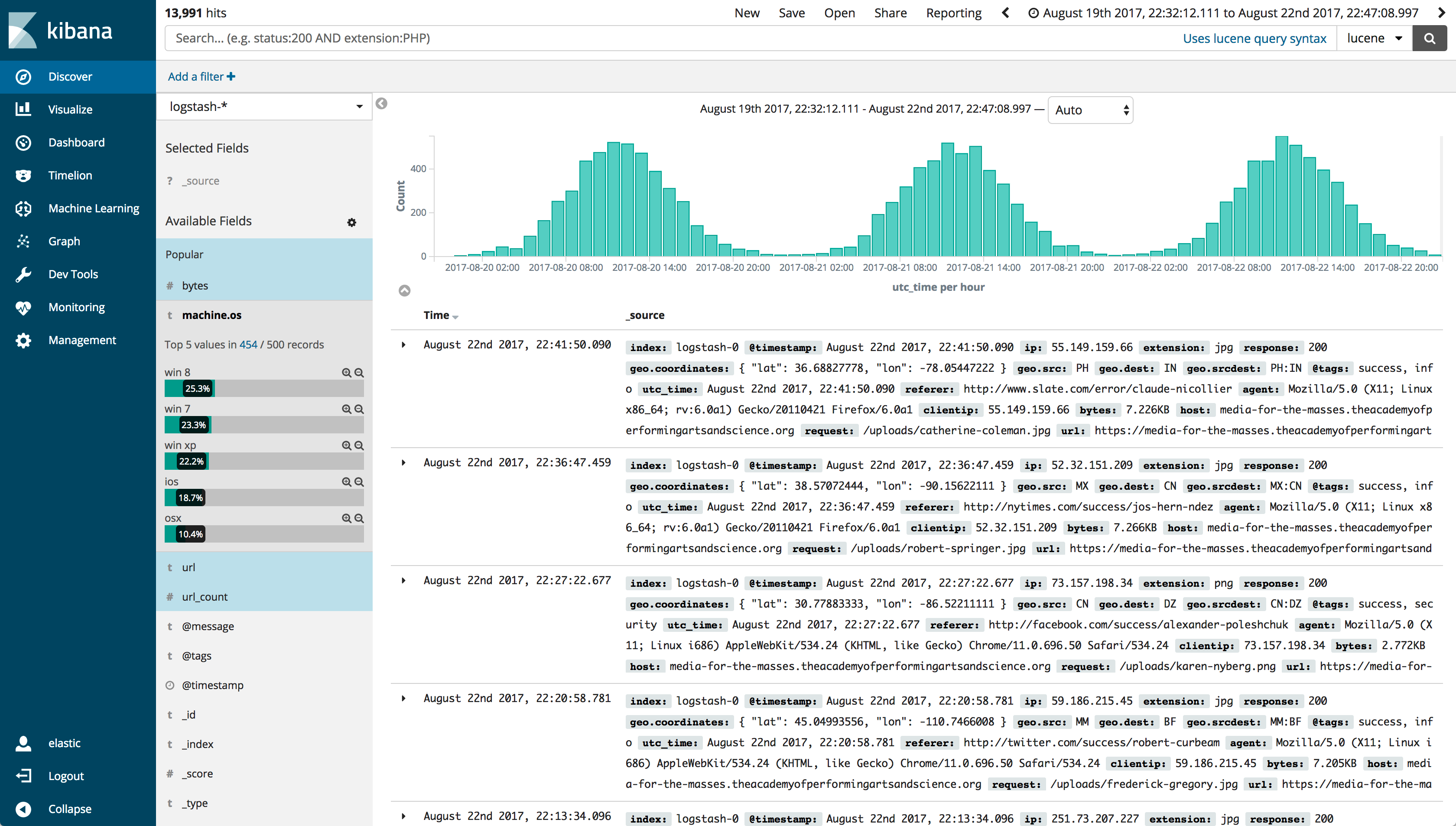 A screenshot showing the new Kibana 6 color scheme with a better contrast