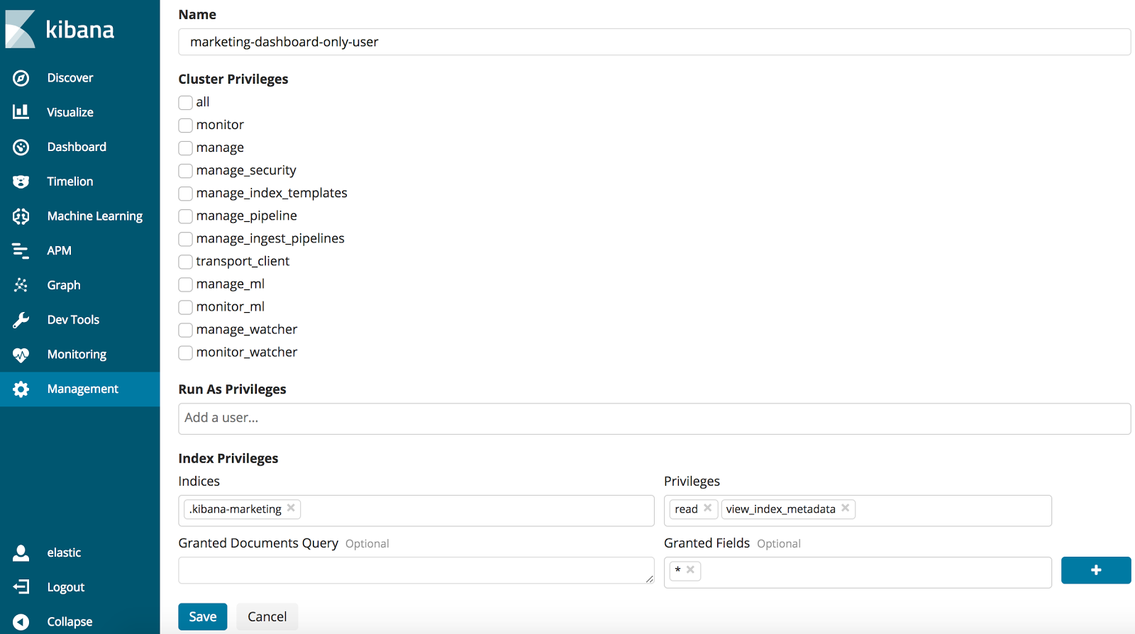creating read only users for the advanced, dashboard only mode configuration